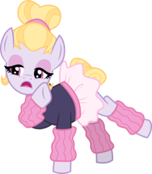 Size: 3001x3442 | Tagged: safe, artist:cloudyglow, hoofer steps, pony, on your marks, clothes, eyeshadow, female, leg warmers, makeup, open mouth, simple background, solo, transparent background, tutu, vector