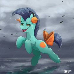 Size: 3000x3000 | Tagged: artist:bean-sprouts, bow, crossover, earth pony, headphones, leaf, looking at you, marshtomp, open mouth, pokémon, ponified, pony, rain, raised eyebrow, ribbon, safe, smiling, smirk, solo, tail bow, trollface, water, wet, wet mane, wind
