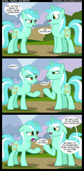 Size: 1008x2048 | Tagged: safe, artist:veggie55, lyra heartstrings, pony, unicorn, comic, duo, guyra, rock paper scissors, rule 63, self ponidox
