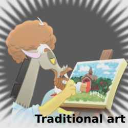 Size: 1024x1024 | Tagged: safe, discord, derpibooru, what about discord?, .svg available, bob ross, draconiross, meta, official spoiler image, painting, spoilered image joke, svg, traditional art, vector