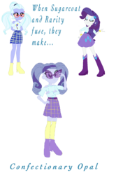 Size: 958x1364 | Tagged: safe, artist:animeponynintendo, rarity, sugarcoat, equestria girls, boots, bracelet, clothes, dynamite, explosives, four arms, fusion, glasses, high heel boots, high heels, jewelry, multiple arms, simple background, skirt, socks, transparent background