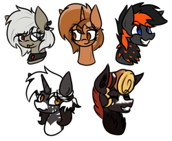 Size: 2200x1800 | Tagged: safe, artist:nekro-led, oc, oc only, oc:cella, oc:crafted sky, oc:melody onyx, oc:monarch, oc:sign, changeling queen, bust, changeling queen oc, female, neck feathers