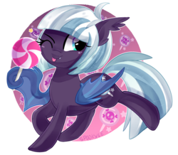 Size: 1600x1394 | Tagged: safe, oc, oc only, bat pony, pony, candy, female, food, lollipop, mare, one eye closed, solo, tongue out, wink