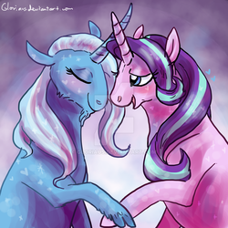 Size: 900x900 | Tagged: safe, artist:gloriaus, starlight glimmer, trixie, classical unicorn, pony, unicorn, blushing, cloven hooves, curved horn, eyes closed, facial hair, female, floppy ears, goatee, heart, leonine tail, lesbian, lidded eyes, open mouth, shipping, smiling, sparkles, startrix, unshorn fetlocks, watermark