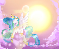 Size: 2400x2000   Tagged: safe, artist:clefficia, princess celestia, alicorn, pony, cloud, crepuscular rays, eyes closed, female, flying, high res, lens flare, mare, solo, sun