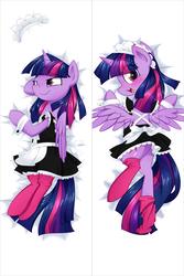 Size: 1335x2000 | Tagged: safe, artist:habijob, twilight sparkle, alicorn, pony, blushing, body pillow, body pillow design, butt, clothes, cute, female, maid, plot, solo, stockings, thigh highs, twiabetes, twilight sparkle (alicorn)