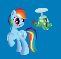 Size: 1409x1351 | Tagged: safe, artist:brok-enwings, rainbow dash, tank, pegasus, pony, tortoise, blue background, blushing, female, flower, flying, heart, mare, open mouth, propeller, rose, simple background, smiling