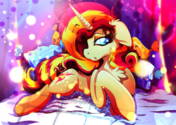 Size: 1920x1358 | Tagged: safe, artist:rariedash, sunset shimmer, pony, unicorn, bed, chest fluff, female, floppy ears, pillow, prone, solo