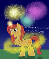 Size: 2300x2800 | Tagged: safe, artist:cloudy95, oc, oc only, oc:leaf spark, pony, unicorn, female, fireworks, high res, magic, mare, night, pollen, solo