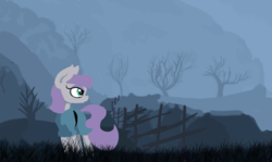 Size: 1489x889 | Tagged: safe, artist:paskanaakka, derpibooru exclusive, maud pie, earth pony, pony, female, fence, grass, mist, mountain, road, scenery, solo