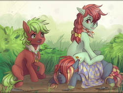 Size: 1233x939   Tagged: safe, artist:1an1, apple cinnamon, candy apples, oc, earth pony, pony, apple family member, collar, neckerchief, picnic blanket, ponies riding ponies, trio