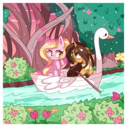 Size: 1300x1300 | Tagged: safe, artist:ipun, oc, oc only, pony, unicorn, clothes, female, heart eyes, male, mare, oc x oc, rowing, scarf, shipping, stallion, straight, swan boat, tree, wingding eyes