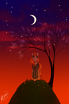 Size: 1000x1501 | Tagged: artist:pideathpi, oc, oc only, oc:sonya, safe, solo, tree, twilight (astronomy)
