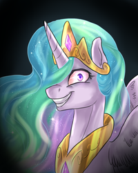 Size: 902x1126 | Tagged: safe, artist:not-ordinary-pony, princess celestia, alicorn, pony, crazy face, creepy, crown, evil grin, faic, female, grin, jewelry, looking at you, regalia, smiling, snaplestia, solo