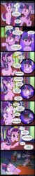 Size: 1000x5000 | Tagged: safe, artist:coltsteelstallion, edit, princess celestia, smarty pants, starlight glimmer, twilight sparkle, alicorn, pony, absurd resolution, bed, bipedal, blushing, chair, comic, companion cube, cropped, cute, derp, dialogue, floppy ears, frown, glare, grin, hidden eyes, insanity, knife, looking back, nervous, open mouth, plushie, pointing, portal (valve), raised hoof, rocking chair, scared, scratching, side, sitting, smiling, smirk, spanish, speech bubble, squee, sweat, sweatdrop, this will end in communism, this will end in pain and/or death, translation, translator:the-luna-fan, twilight sparkle (alicorn), watching, wide eyes, yandere, yandere glimmer