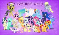 Size: 2656x1602 | Tagged: safe, artist:andoanimalia, apple bloom, applejack, daring do, derpy hooves, fluttershy, mayor mare, pinkie pie, princess cadance, princess celestia, princess flurry heart, princess luna, rainbow dash, rarity, scootaloo, starlight glimmer, sunset shimmer, sweetie belle, trixie, twilight sparkle, alicorn, pony, cutie mark crusaders, female, international women's day, mane six, mare, twilight sparkle (alicorn)