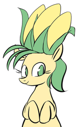 Size: 329x539 | Tagged: safe, artist:pochatochek, oc, oc only, earth pony, pony, bust, corn, food, looking at you, simple background, smiling, solo, white background