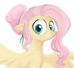 Size: 484x444 | Tagged: safe, artist:pochatochek, fluttershy, pony, alternate hairstyle, bust, hair bun, looking at you, portrait, simple background, solo, spread wings, white background