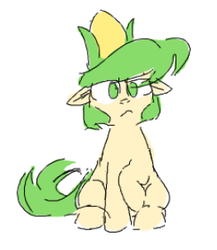 Size: 262x302 | Tagged: safe, artist:pochatochek, oc, oc only, earth pony, pony, corn, floppy ears, food, frown, looking at you, raised hoof, simple background, sitting, solo, white background
