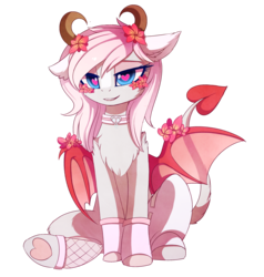 Size: 2377x2496 | Tagged: safe, artist:magnaluna, oc, oc only, oc:minxy bearheart, demon, pony, succubus, chest fluff, collar, commission, female, flower, flower in hair, heart, heart eyes, horn, mare, monster mare, simple background, sitting, solo, succupony, transparent background, wingding eyes, wings