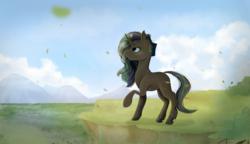 Size: 4000x2300 | Tagged: safe, artist:isorrayi, oc, oc only, pony, unicorn, cliff, female, mare, mountain, plant, raised hoof, solo
