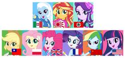 Size: 2680x1252 | Tagged: safe, applejack, fluttershy, pinkie pie, rainbow dash, rarity, starlight glimmer, sunset shimmer, trixie, twilight sparkle, equestria girls, china, eqg flag-tag meme, france, hetalia, italy, japan, japanese empire, mane six, nazi germany, poland, republic of china, soviet union, starlight himmler, taiwan, united kingdom, united states