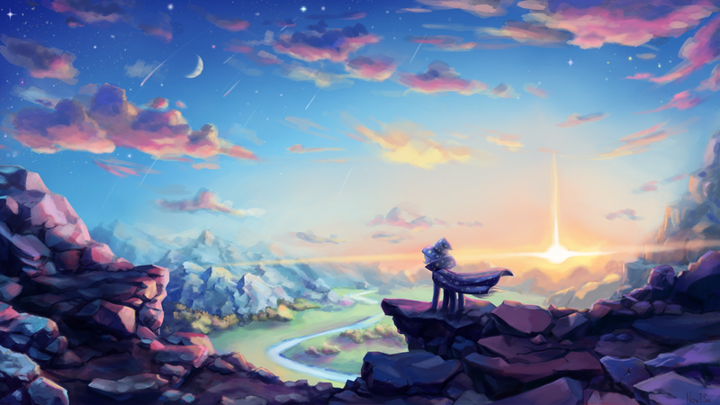 Size: 3000x1688 | Tagged: artist:inowiseei, cape, clothes, cloud, crescent moon, featured image, female, hat, mare, moon, mountain, pony, river, safe, scenery, scenery porn, shooting star, sky, solo, stars, sun, tree, trixie, trixie's cape, trixie's hat, twilight (astronomy), unicorn, valley