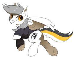 Size: 1128x898 | Tagged: safe, artist:hioshiru, oc, oc only, oc:kej, pegasus, pony, clothes, male, simple background, smiling, solo, stallion, sweater, white background