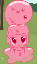 Size: 1300x2247   Tagged: safe, artist:badumsquish, derpibooru exclusive, part of a set, oc, oc only, oc:quiddity, goo pony, original species, pony, badumsquish's kitties, bedroom eyes, egg, female, imminent oviposition, lidded eyes, looking at you, mare, melting, sitting, smiling, solo
