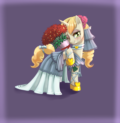 Size: 1240x1275 | Tagged: safe, artist:dankflank, sweet biscuit, pony, unicorn, bouquet, clothes, crying, drawfriend, drawthread, dress, female, flower, flower in hair, head turn, hoof hold, looking at you, mare, one eye closed, smiling, solo, tears of joy, teary eyes, wedding dress