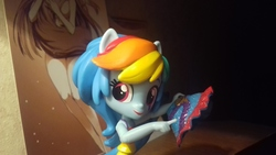 Size: 3264x1836   Tagged: safe, artist:synch-anon, rainbow dash, equestria girls, clothes, doll, equestria girls minis, irl, miniskirt, photo, skirt, skirt lift, solo, toy