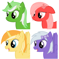 Size: 2268x2268 | Tagged: safe, artist:joey, oc, oc only, oc:comment, oc:downvote, oc:favourite, oc:upvote, alicorn, earth pony, pegasus, pony, unicorn, derpibooru, .svg available, april fools, april fools 2017, arrow, bust, collage, derpibooru ponified, female, floppy ears, frown, hairclip, icon, mare, meta, open mouth, ponified, portrait, quartet, ribbon, side view, simple background, smiling, solo, speech bubble, spread wings, stars, svg, symbol, transparent background, vector, wings