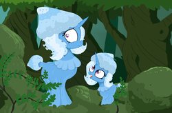 Size: 2458x1609 | Tagged: safe, artist:paskanaakka, derpibooru exclusive, trixie, mushroom pony, original species, pony, unicorn, duo, female, filly, forest, mare, mushroom, shroomsie, species swap