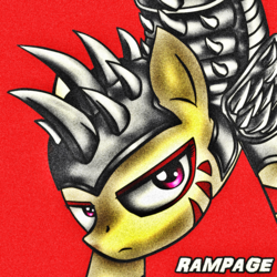 Size: 1344x1344 | Tagged: safe, artist:quanxaro, oc, oc only, oc:rampage, earth pony, pony, fallout equestria, fallout equestria: project horizons, armor, female, solo, spikes