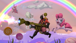 Size: 1920x1080 | Tagged: 3d, artist:charlydasher, balloonicorn, candy, crossover, food, happiness, infernal orchestrina, lollipop, pinkie being pinkie, pinkie pie, pyro, pyroland, rainblower, rainbows, safe, source filmmaker, team fortress 2