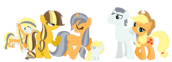 Size: 1313x473 | Tagged: applejack, appleshill, artist:margaretlovez, family, female, male, next generation, oc, oc:autumn flint, oc:colourful apple, oc:quick star, oc:winter blossom, offspring, safe, shipping, silver shill, straight
