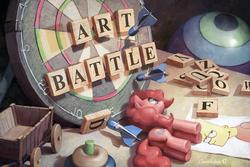 Size: 1200x800 | Tagged: safe, artist:cannibalus, pinkie pie, earth pony, pony, tabun art-battle, art battle, ball, bart simpson, dartboard, darts, female, letter, mare, signature, smiling, solo, table, tabun art-battle cover, toy, wagon