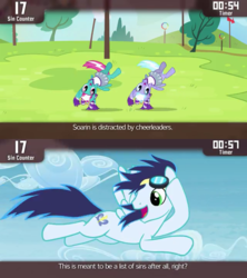 Size: 640x720 | Tagged: cinemare sins, lilac sky, pony, rainbow falls, safe, screencap, sin, soarin', spring step, sunlight spring