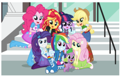 Size: 3212x2064 | Tagged: safe, artist:lovelygirlmusicer, applejack, fluttershy, pinkie pie, rainbow dash, rarity, sci-twi, spike, spike the regular dog, sunset shimmer, twilight sparkle, dog, equestria girls, friendship games, boots, bracelet, clothes, cowboy boots, cute, dashabetes, diapinkes, glasses, high heel boots, humane seven, jackabetes, jacket, leather jacket, looking at you, necktie, pants, raised leg, raribetes, right there in front of me, scene interpretation, school uniform, shimmerbetes, shyabetes, skirt, socks, spikabetes, stairs, tanktop, twiabetes, wristband