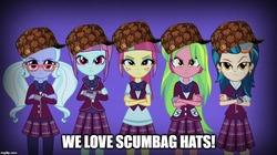 Size: 888x499 | Tagged: safe, edit, edited screencap, screencap, indigo zap, lemon zest, sour sweet, sugarcoat, sunny flare, equestria girls, hat, meme, scumbag hat, shadow five, shadowbolt comments