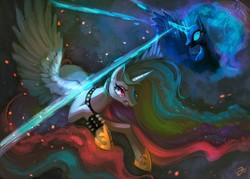 Size: 1400x1000   Tagged: safe, artist:erinliona, nightmare moon, princess celestia, princess luna, alicorn, pony, blast, choker, duo, ear piercing, female, fight, gritted teeth, magic, magic blast, mare, piercing, royal sisters, spiked wristband, wristband