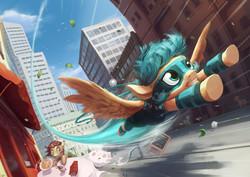 Size: 1754x1240   Tagged: safe, artist:darthagnan, oc, oc only, oc:blur (rubronycon), pegasus, pony, unicorn, city, flying, rubronycon, scenery, skyscraper, superhero