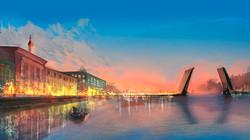 Size: 1500x837 | Tagged: safe, artist:erinliona, oc, oc only, boat, bridge, city, lights, river, scenery, sky