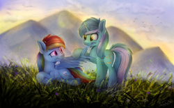 Size: 1662x1028 | Tagged: safe, artist:breakdream, lyra heartstrings, rainbow dash, pegasus, pony, unicorn, confused, disgusted, drool, eye contact, female, frown, grass, grass field, hoof hold, looking at each other, mare, meadow, nom, prone, raised eyebrow, raised hoof, scenery, smiling, spread wings, taste the rainbow, wing noms, wings