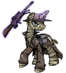 Size: 1280x1414 | Tagged: safe, artist:inlucidreverie, oc, oc only, oc:stranger, pony, unicorn, fallout equestria, bandage, clothes, gun, hat, simple background, transparent background, trenchcoat, weapon