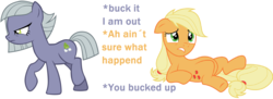 Size: 2504x907 | Tagged: safe, artist:backgroundpony, applejack, limestone pie, duo, shipping denied, simple background, white background