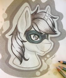 Size: 2800x3296 | Tagged: safe, artist:emberslament, oc, oc only, pony, unicorn, bust, high res, male, pencil, photo, portrait, solo, stallion, traditional art