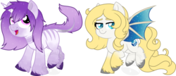 Size: 1024x442 | Tagged: safe, artist:tambelon, oc, oc only, oc:lirio, oc:snow fell, bat pony, classical unicorn, pony, unicorn, bat pony oc, chibi, cloven hooves, duo, female, leonine tail, mare, simple background, sparkles, transparent background, unshorn fetlocks, watermark
