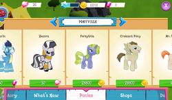 Size: 1024x600   Tagged: safe, crescent pony, forsythia, mane moon, mr breezy, rarity, soarin', zecora, pegasus, pony, unicorn, zebra, app, gameloft, op is a slowpoke, recolor, screenshots, why