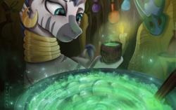 Size: 2000x1258 | Tagged: safe, artist:aelwyng, zecora, zebra, cauldron, cup, female, mare, mask, potion, solo, zecora's hut